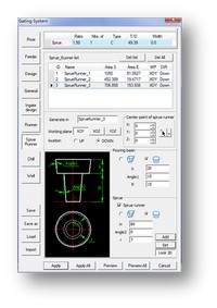 Software with runner design capability for casting for foundry